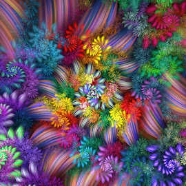 Flowers and Ribbons Spiral by Peggi Wolfe - Illustration Abstract & Patterns ( abstract, wolfepaw, color, bright, spiral, fun, fractal, digital )