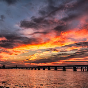 First Fall Sunset by Shutter Bay Photography - Landscapes Sunsets & Sunrises ( clouds, colorful, waterscape, colors, sunset, cloudscape, waterscapes )