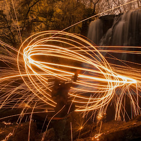 Steel Wole Waterfall by Aaron Rigsby - Abstract Light Painting ( waterfall, steel, sparks, wool )
