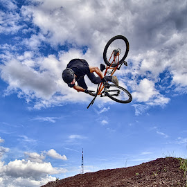 Nose Dive by Marco Bertamé - Sports & Fitness Other Sports ( clouds, bike, sky, blue, nose dive, fall, brown, grey, air, high, dow, stunt, jump )