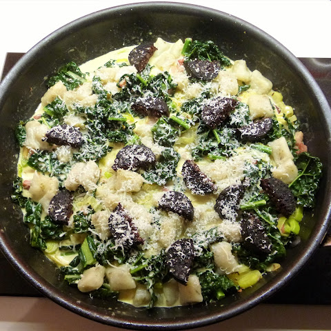 Baked Gnocchi, Cavolo Nero, Black Pudding and Pancetta with Creamy Sauce