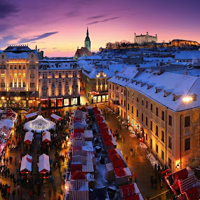 Christmas Bratislava by Matej Kováč - City,  Street & Park  Historic Districts ( lights, witner, bratislava, snow, christmas, night, city,  )