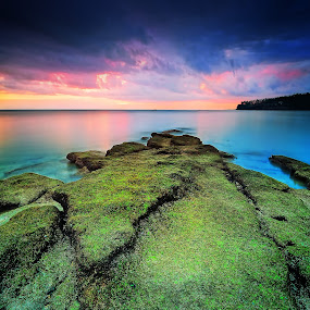 senggigi by Herry Suwondo - Landscapes Waterscapes ( clouds, sunset, sea, stones, senggigi )