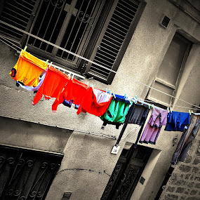colors clothes hanging by Stefano Rho - City,  Street & Park  Neighborhoods ( grunge, clothes, alghero, street, wet,  )