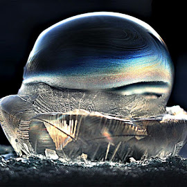 Bubble Implosion  by RichandCheryl Shaffer - Abstract Macro ( #bubble # coldweather #freezing #deflate,  )
