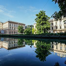 Brno reflection by Adam Lang - City,  Street & Park  Neighborhoods ( water, brno, reflection, street, city )