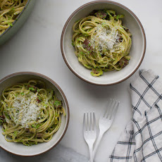 Spring Pea Pesto with Bacon and Leeks