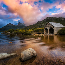 Temple of the soul by Rebecca Ramaley - Landscapes Waterscapes ( tasmania, cradle mountain, sunset, boat shed, dove lake )