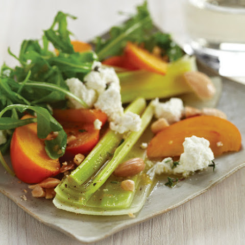 Leek Salad with Persimmons and Almonds