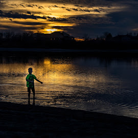 Not much light Left by Chad Roberts - Babies & Children Children Candids ( sunset, snake river, dark, fishing, evening, river )