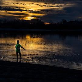 Not much light Left by Chad Roberts - Babies & Children Children Candids ( sunset, snake river, dark, fishing, evening, river )