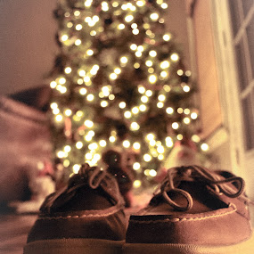 Under the Tree by Sawyer Jones Photography  - Artistic Objects Clothing & Accessories ( leather., shoes, lights, sperry, floor, christmas, poster, feet, bokeh, print, portrait )