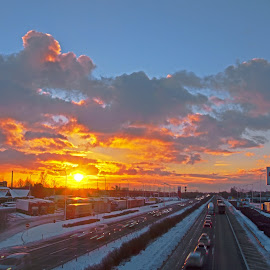 Highway in the sunset by Michal Fokt - Uncategorized All Uncategorized ( highway, sunset,  )