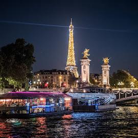 Paris at night by Ian Harris - Buildings & Architecture Public & Historical ( eiffel tower, paris, night photography, night )
