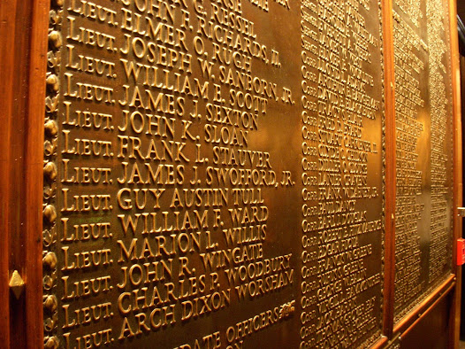 "Enshrined in the Memorial's Memory Hall are bronze tablets inscribed with a <a href=""https://www.theworldwar.org/visit/plan-your-visit/about-museum-and-memorial/kansas-city-war-dead"">complete list</a> of the 441 Kansas Citians who died in World War I."