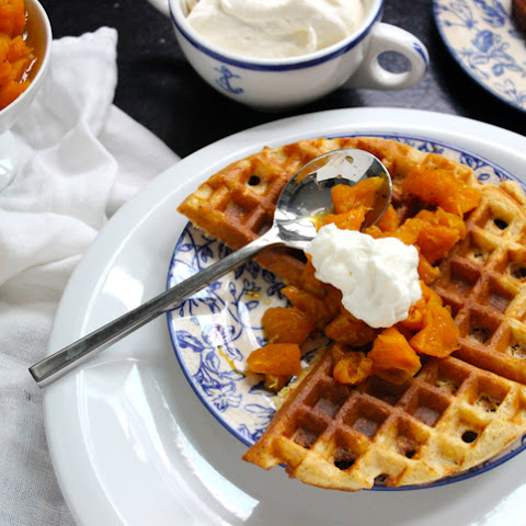 Cornmeal Waffles with Clove Mandarin Topping