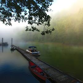 Sunrise on the Siletz by Chad Knowlden - Transportation Boats ( oregon, fog, sunrise, rivers, boats boating )