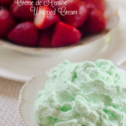 Strawberries with Creme de Menthe Whipped Cream