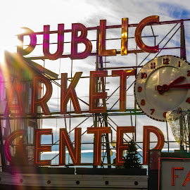 Public Market by Brad Larsen - City,  Street & Park  Historic Districts ( sign, market, clock, sunflare, city )