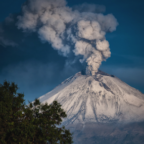 Smoking volcano an Church by Cristobal Garciaferro Rubio - Landscapes Mountains & Hills ( volcano, mexico, puebla, popocatepetl, volcanoes, cholula church )