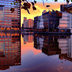 Docklands by Angel Weller - Buildings & Architecture Office Buildings & Hotels ( office, water, blue, sunsets, buildings )