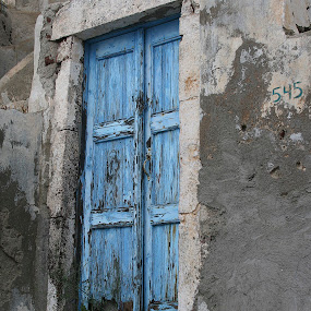 Blue Door by Gwen Paton - Buildings & Architecture Other Exteriors ( door, rustic, blue door, blue, greece, santorini island,  )