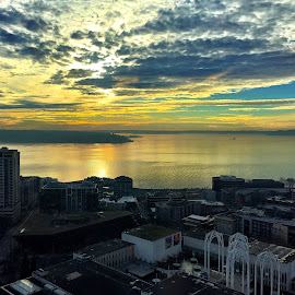 View from The Needle by Charline Ratcliff - Landscapes Travel ( clouds, skyline, clouds and sea, cloudscape, cityscape, travel, landscape, washington, space needle, sky, seattle, sunset, landscapes )