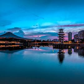 Blue Retrogression by Gordon Koh - City,  Street & Park  City Parks (  )