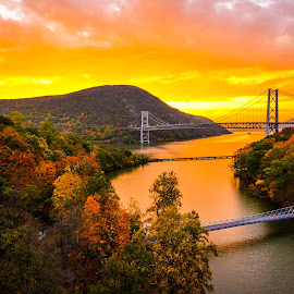 Three Bridges on the Hudson by Mike Parker - Landscapes Mountains & Hills