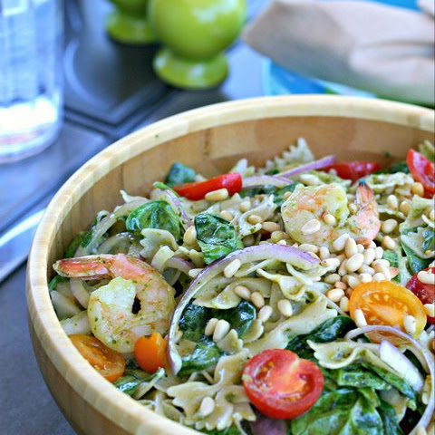 Gluten and Dairy Free Pesto Pasta Salad with Shrimp