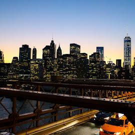 by Les Tjon - City,  Street & Park  Skylines ( brooklyn bridge, skyline, big apple, skyscrapers, sunset, new york, usa, new york 2015 vacation,  )