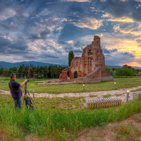 Photographing the sunset by Petar Shipchanov - Buildings & Architecture Public & Historical ( sky, red, church, sunset, red church, sanctuary, perushtitsa, triphon, photography, bulgaria, shooting, photographers, taking a photo, photographing, photographers taking a photo, snapping a shot )