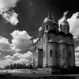 Cathedral of the Blessed Mother Matrona of Moscow. Kharkov. Ukraine by Igor Nayda - Buildings & Architecture Other Exteriors ( kharkov, ukraine, orthodox architecture, architecture, cathedral of the blessed mother matrona of moscow, kharkiv, black-and white )