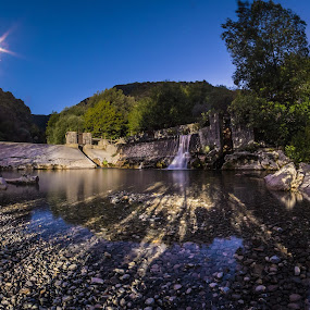 Felitto | Gole del Calore @ Blue Hour by Sabrina Campagna - Landscapes Waterscapes ( water, fiume, moon, reflection, waterfalls, gole del calore, wood, waterscape, blue hour, waterfall, landscape, night photo, blue sky, nature, night photography, trees, long exposure, felitto, night, sabrina campagna, river )