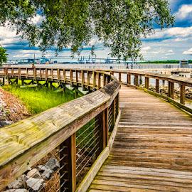 Waterfront Walkway by Dub Scroggin - City,  Street & Park  City Parks ( charleston, us navy base park, cooper river, walkway, waterfront )