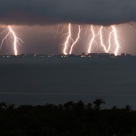 Summer Storm by John Pounder - Landscapes Weather ( thunder, lightning, mexico, summer, storm, puerto vallarta )