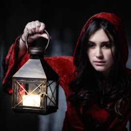 Red Riding hood by John Sinclair - People Portraits of Women ( red, red riding hood, lamp, forest )