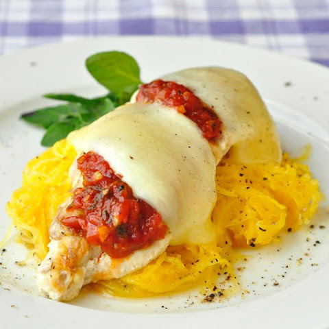 Low Fat Low Carb Chicken Mozzarella with Roasted Spaghetti Squash
