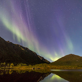 Aurora over water by Benny Høynes - Landscapes Waterscapes ( colors, northern lights, aurora borealis, landscapes, norway,  )