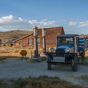 Bodie Gas Station by Sam De Block - Buildings & Architecture Decaying & Abandoned ( blue, ghost town, gas station, california, bodie )