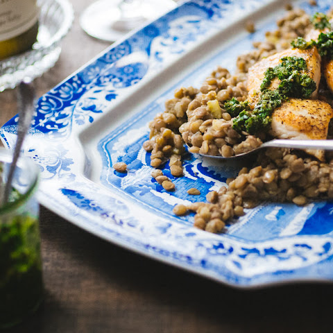 Pan Seared Halibut with Lentils and Salsa Verde