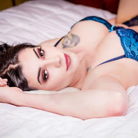Boudoir with Val by Don Valentine - Nudes & Boudoir Boudoir ( lace, boudoir photography, burnette, bed, boudoir, bra, female model )