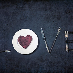 cooking with love by Joana Kruse - Artistic Objects Cups, Plates & Utensils ( valentine's day, cook, fork, heart, white, plate, cutlery, loving, silverware, kitchen, flatware, love, valentine's, forks, in love, red, eating, cooking, eat, knives, conceptual, chef, knife )