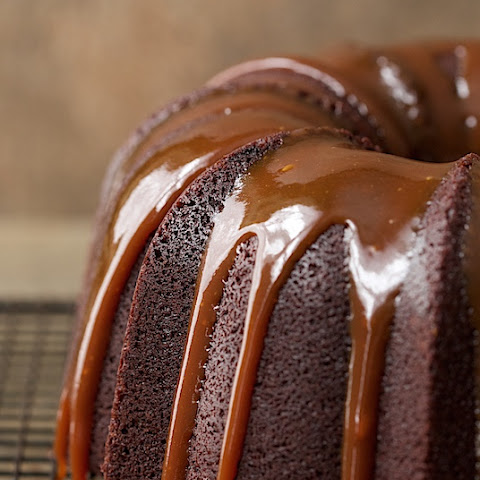 Best Ever Chocolate Bundt Cake with Caramel Glaze