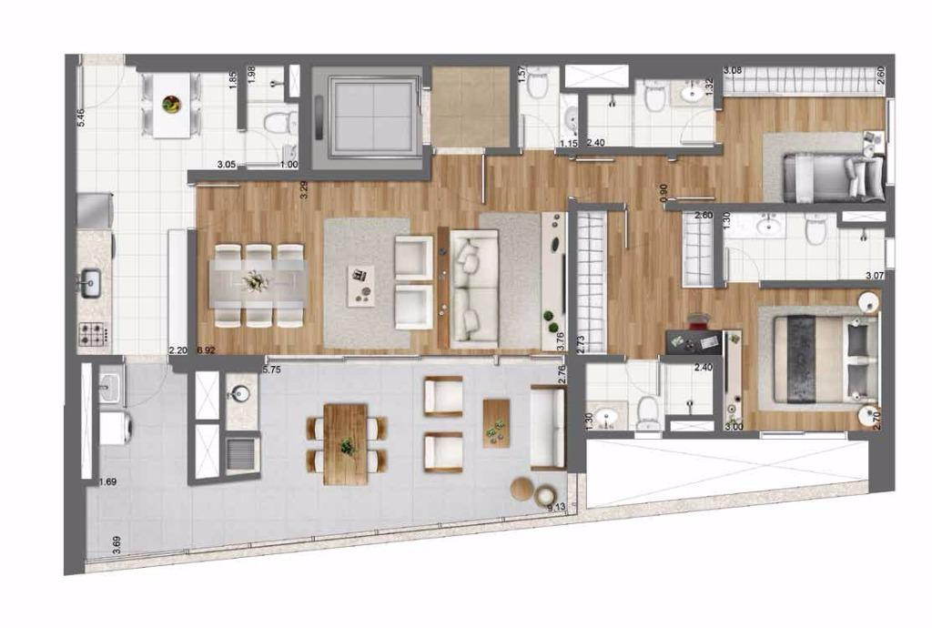 Planta Opção - 128 m²