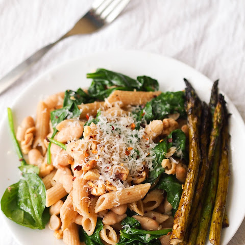 Penne with Spinach, White Beans and Garlic Oil