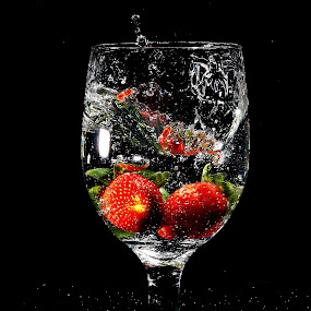 by WanUkay Perdana - Food & Drink Fruits & Vegetables ( fruit, strawberry cameron highlands, glass, malaysia, splash water photography )