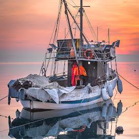 Old fishboat.. by Mario Španjić - Transportation Boats ( sunset, fishboat, sea )