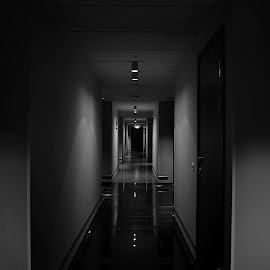 Hotel Hallway by Luka Radulović - Buildings & Architecture Office Buildings & Hotels ( black and white, symmetry, hotel, hallway )