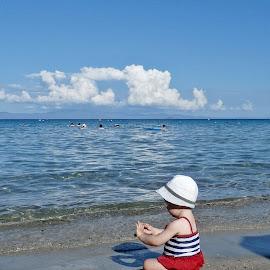 Little princess by Jasmina Trajkovska - Babies & Children Toddlers ( playing, girl child, girl, little princess, sea, beach, girl toddler, KidsOfSummer )